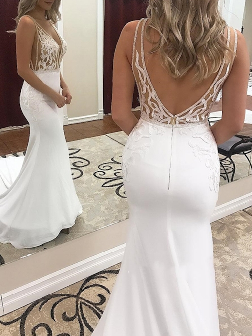 Beading Deep V-Neck Appliques Mermaid Wedding Dress 2019