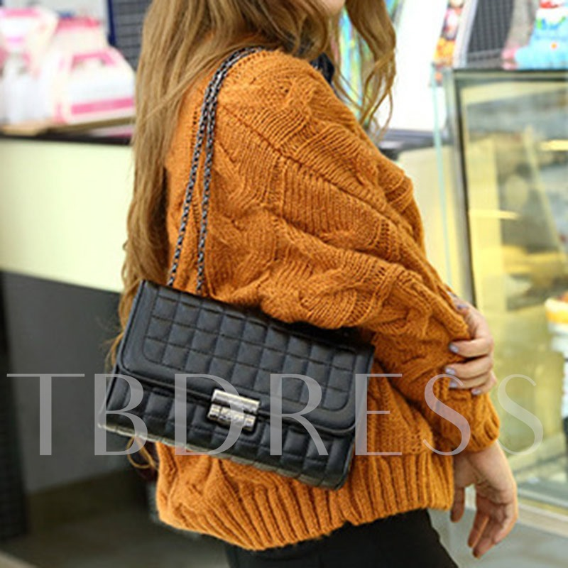 PU Lock Plaid Rectangle Crossbody Bags