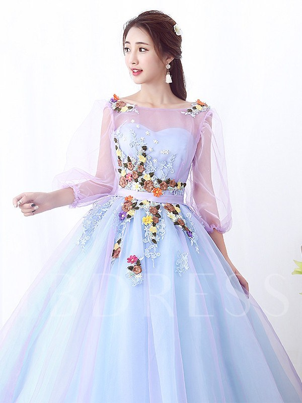 Appliques Ball Gown Floor-Length 3/4 Length Sleeves Quinceanera Dress 2019
