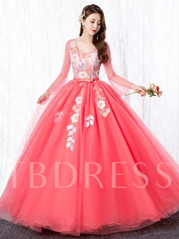Long Sleeves Ball Gown Floor-Length Sashes Quinceanera Dress 2019