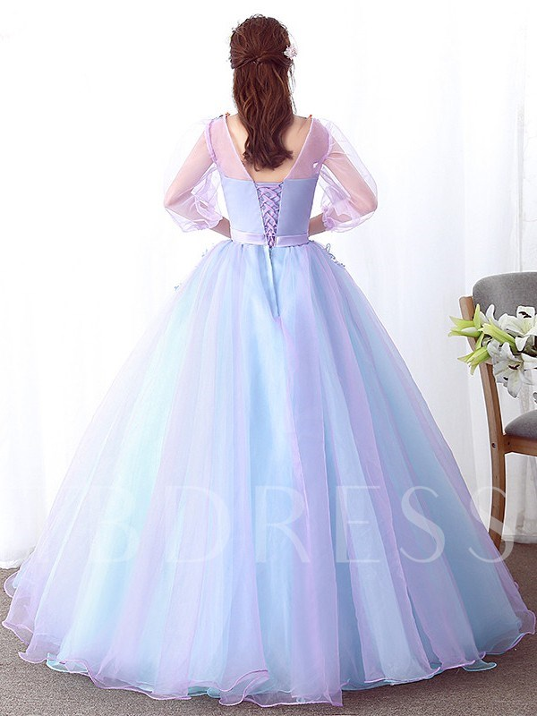 Appliques Ball Gown Floor-Length 3/4 Length Sleeves Quinceanera Dress
