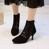 Pointed Toe Back Zip Stiletto Hee Hollow Sexy Ankle BootsBoots