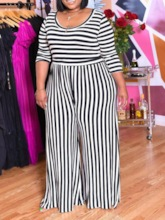Stripe Plus Size Full Length Straight Women's Jumpsuit