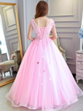 Appliques Ball Gown Floor-Length V-Neck Quinceanera Dress 2019