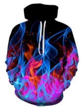 Classic Fashion 3D Fire Print Regular Pullover Color Block Fall Men's Hoodies