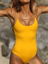 One Piece Hollow Plain Beach Look Women's Swimwear