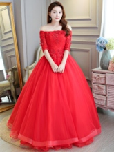 Beading Off-The-Shoulder Floor-Length Ball Gown Quinceanera Dress 2019