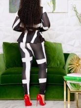 Color Block Ankle Length Pants Patchwork Fashion Stand Collar Women's Two Piece Sets