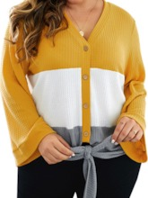 Plus Size Button Flare Sleeve Single-Breasted Fall Women's Sweater