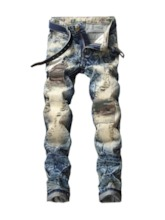 Fashion Cotton Denim Fabric Mid Waist Color Block Patchwork Worn Zipper Men's Jeans