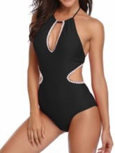 Sexy One Piece Color Block Lace-Up Women's Swimwear