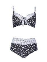 Plus Size Bowknot Sexy Polka Dots Tankini Set Women's Swimwear