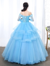 Off-The-Shoulder Beading Ball Gown Floor-Length Quinceanera Dress 2019