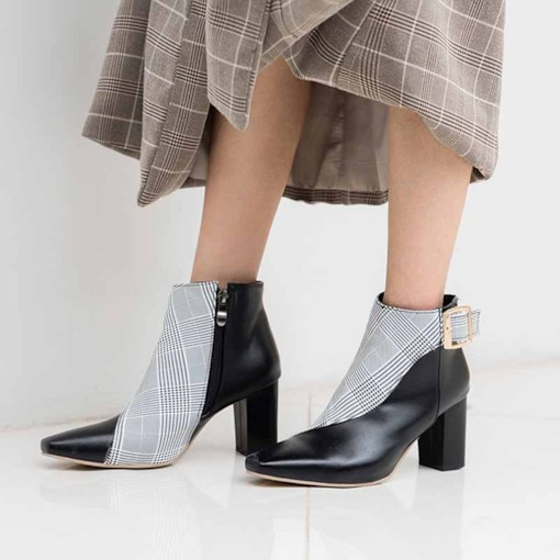 Pointed Toe Plaid Chunky Heel Plaid Ankle Boots