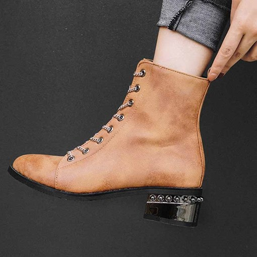 Plain Round Toe Lace-Up Front Block Heel Ankle Boots
