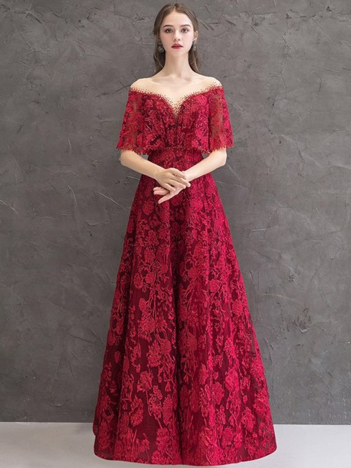 Illusion Neck Beading Lace Evening Dress 2019