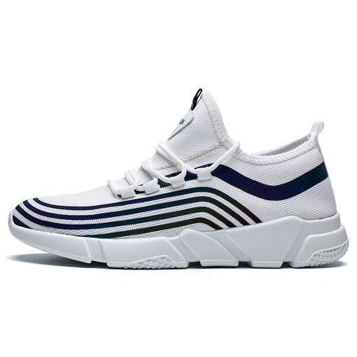 Lace-Up Stripe Chic Men's Running Shoes
