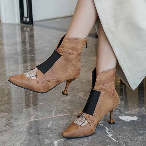 Pointed Toe Back Zip Plaid Chunky Heel Ankle Boots