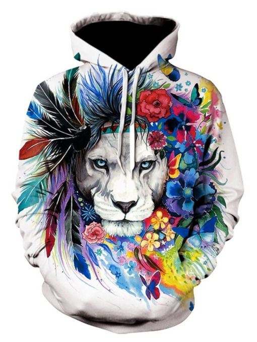 Print Regular Pullover Color Block Fall Men's Hoodies