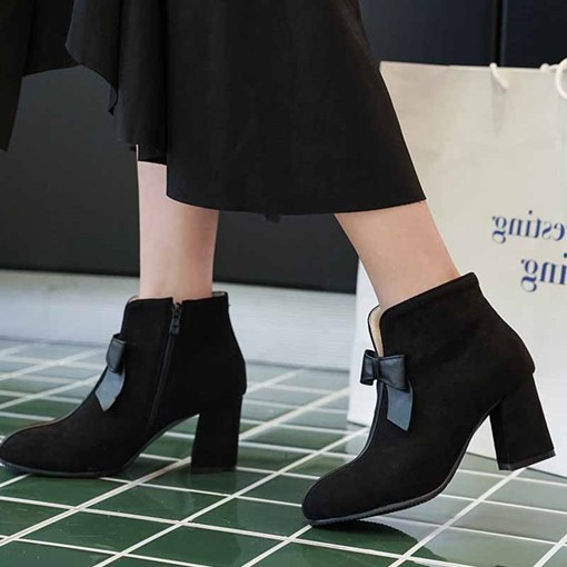 Chunky Heel Side Zipper Bowknot Round Toe Suede Ankle Boots
