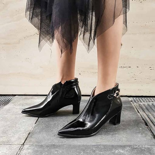 Chunky Heel Side Zipper Pointed Toe Chic Ankle Boots