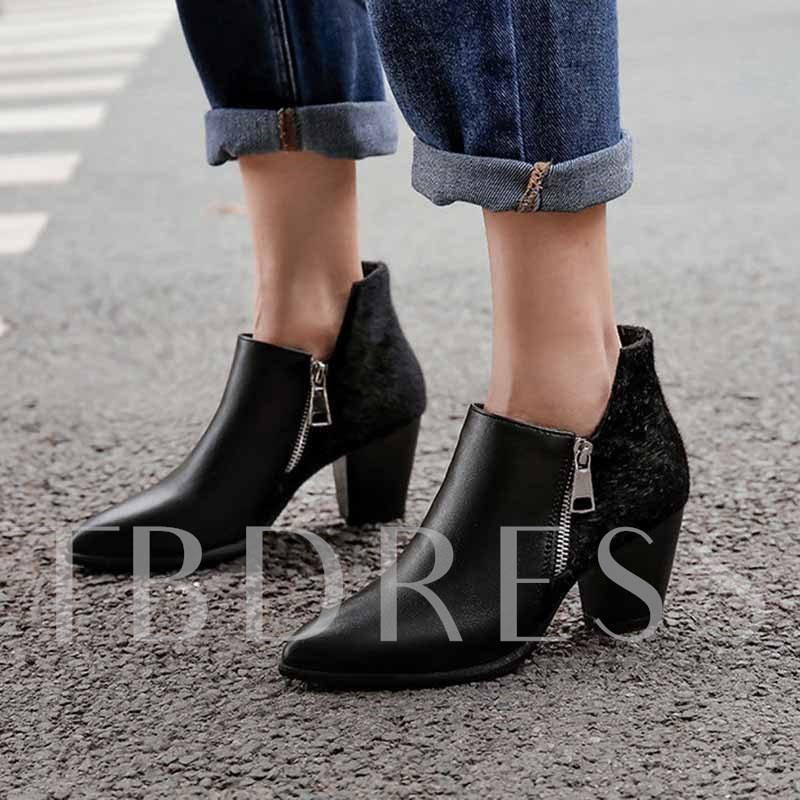 Side Zipper Pointed Toe Chunky Heel Unique Ankle Boots