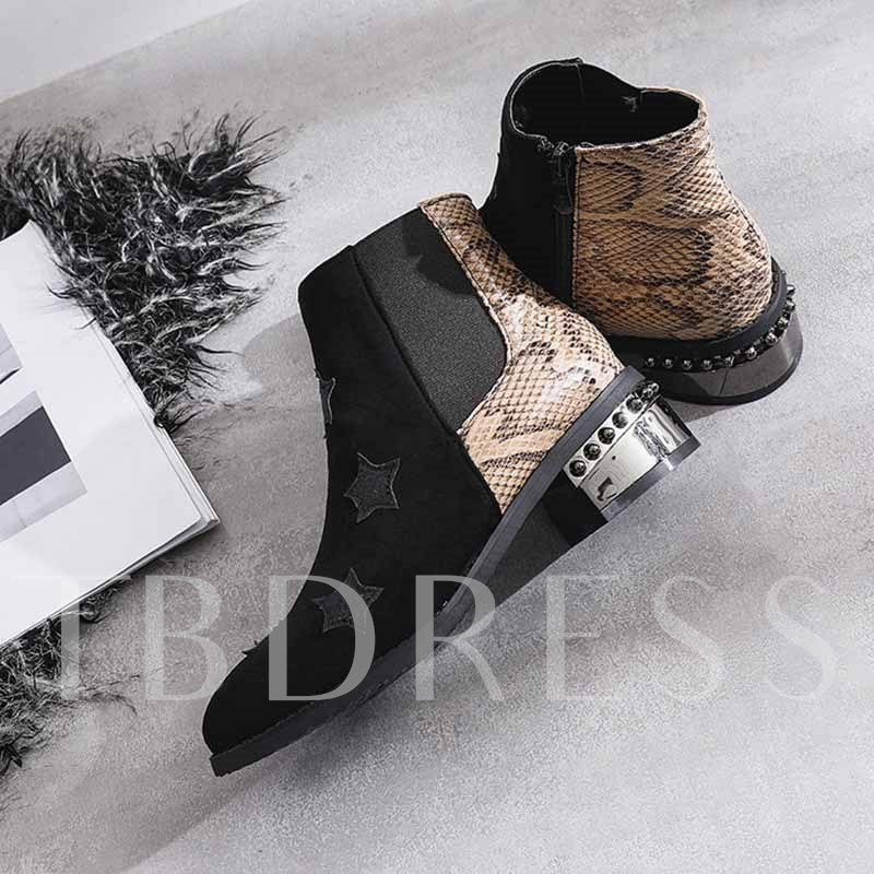 Color Block Side Zipper Round Toe Serpentine Ankle Boots