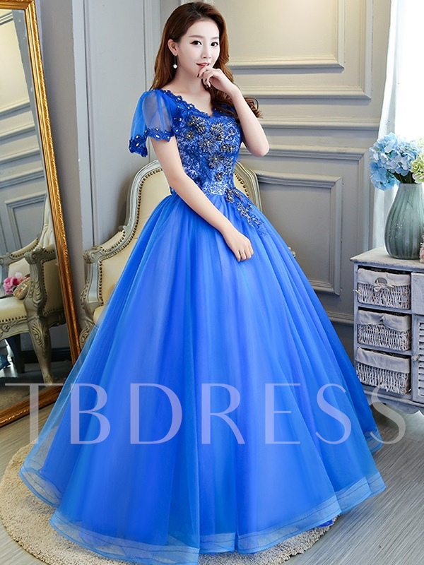 Ball Gown Beading V-Neck Short Sleeves Quinceanera Dress 2019