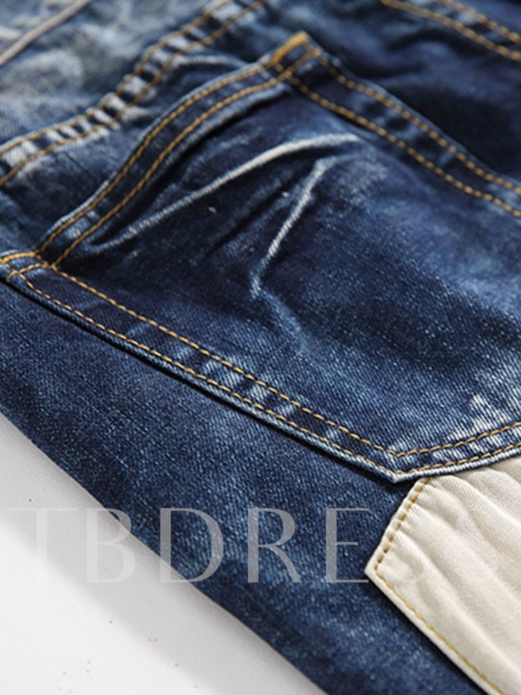 Cotton Denim Fabric Pocket Color Block Worn Patchwork European Slim Men's Jeans