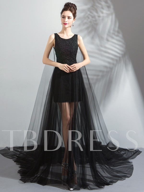 Floor-Length A-Line Sleeveless Court Train Evening Dress 2019