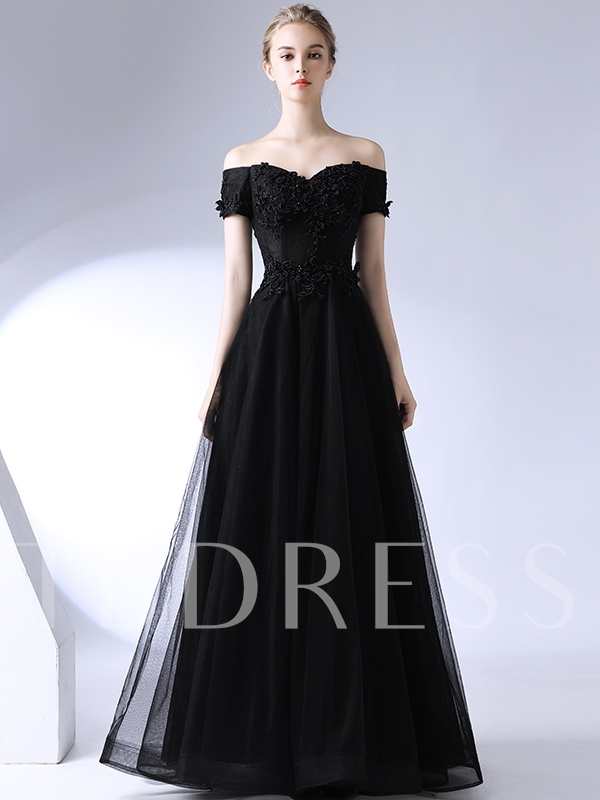 A-Line Appliques Floor-Length Off-The-Shoulder Evening Dress 2019