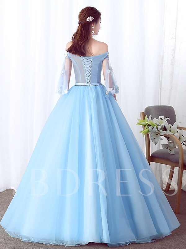 Off-The-Shoulder Ball Gown Sashes Floor-Length Quinceanera Dress 2019