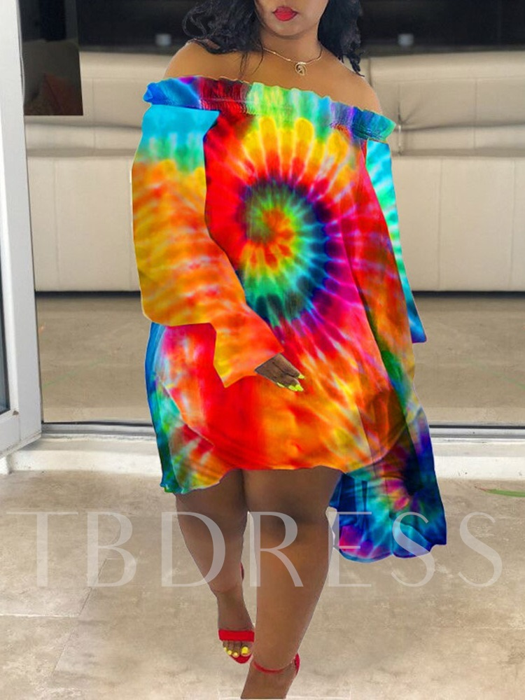 Tie-Dye Long Sleeve Off Shoulder Regular Women's Day Dress