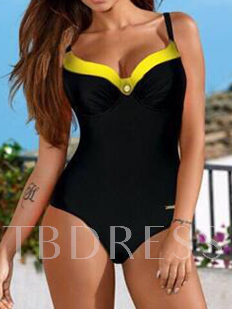 Color Block Sexy Patchwork One Piece Women's Swimwear