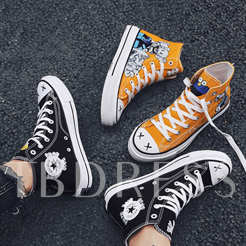 Lace-Up High Top Cartoon Canvas Men's Skate Shoes