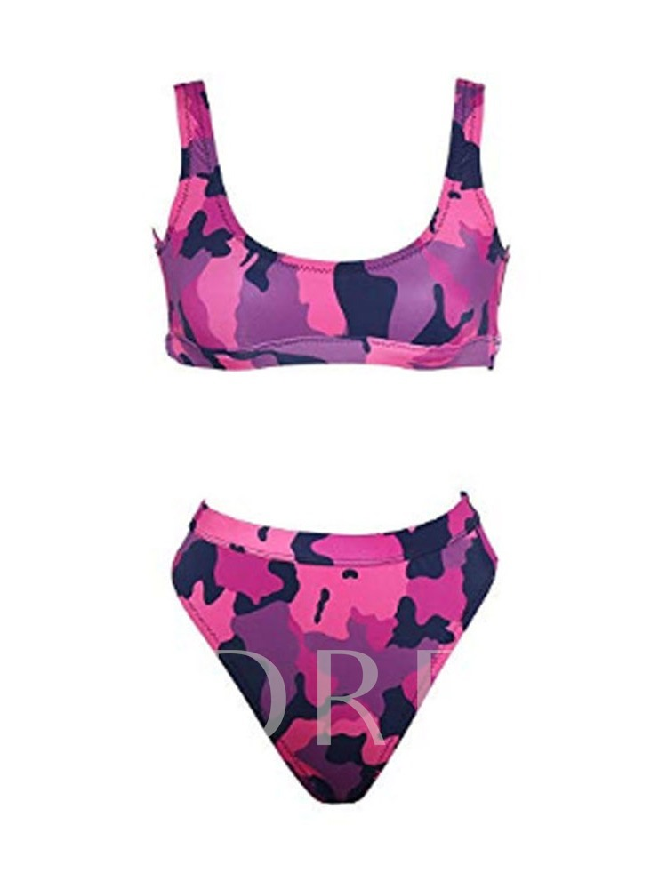 Sexy Tankini Set Color Block Print Women's Swimwear
