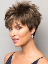 Women's Short Length Pixie Cut Natural Straight Synthetic Hair With Bangs Capless Wigs 10Inches