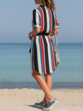 Lapel Long Sleeve Above Knee Print Casual Women's Day Dress