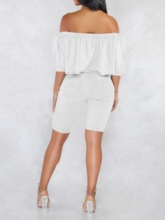 Shorts Casual Plain Pullover Frauen zweiteilige Sets