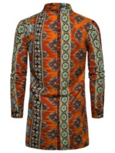 African Ethnic Style Button Lapel Color Block Slim Men's Shirt