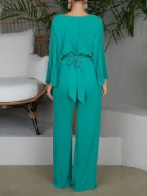 Plain Lace-Up Full Length Fashion Slim Women's Jumpsuit