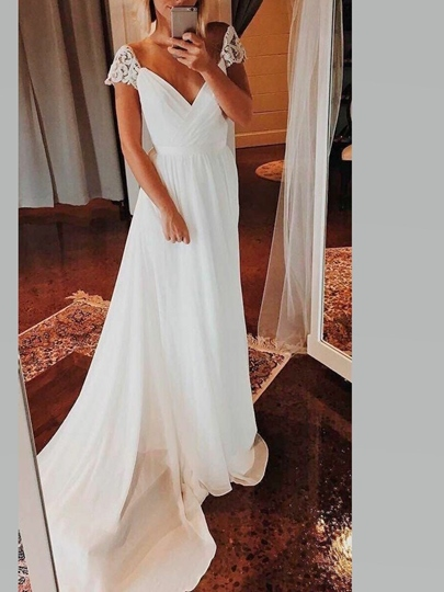 Cap Sleeves Lace Chiffon Beach Wedding Dress 2019 Cap Sleeves Lace Chiffon Beach Wedding Dress 2019
