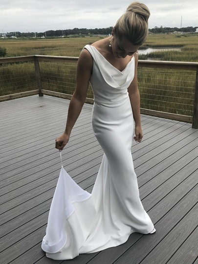 Cowl Neckline Sheath Backless Wedding Dress 2019 Cowl Neckline Sheath Backless Wedding Dress 2019