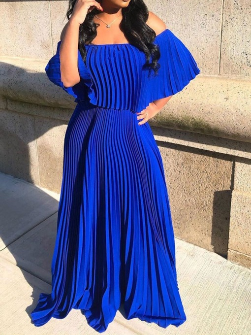 Pleated Off Shoulder Three-Quarter Sleeve Women's Maxi Dress