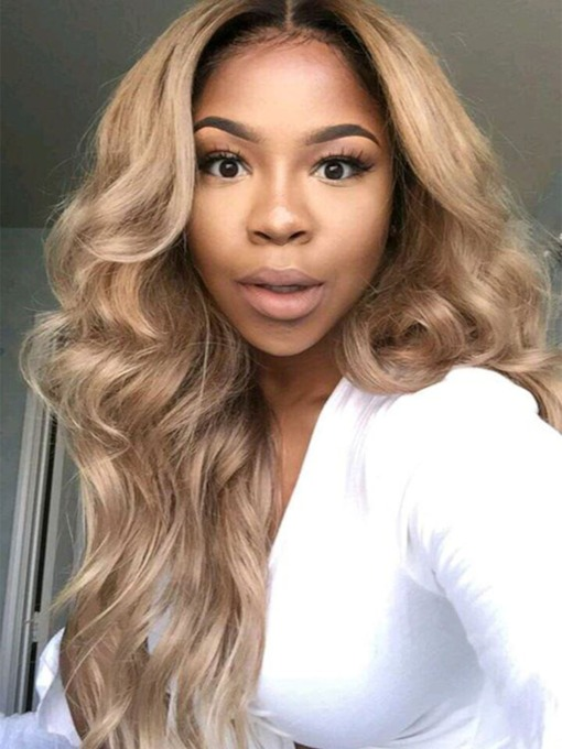 Women's Blonde Ombre Lace Front Wigs Synthetic Realistic Looking Long Wavy Wigs 26Inch