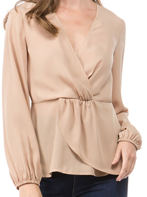 V-Neck Pleated Long Sleeve Women's Blouse
