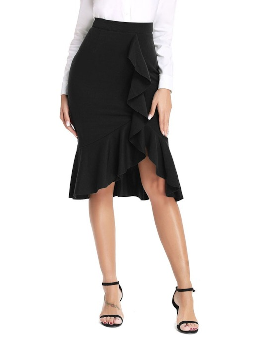 Asymmetric Asymmetrical Knee-Length Plain Wear to Work Women's Skirt
