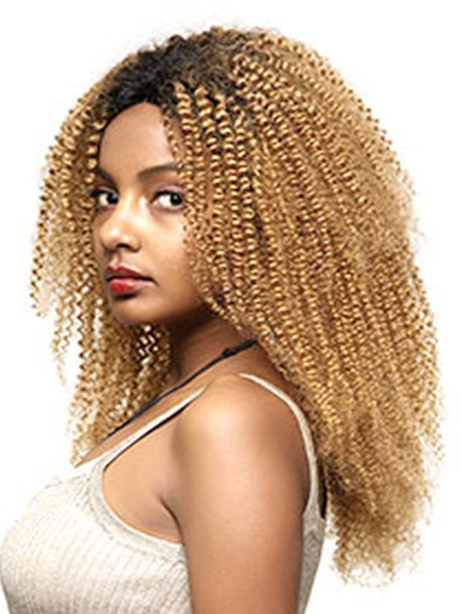 Halloween Women's Ombre Blonde Lace Front Wig T1B/27 Kinky Curly Synthetic Hair Cosplay Costume Wigs Pre Plucked Hair 24Inch