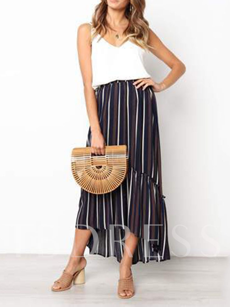 Stripe Stringy Selvedge Ankle-Length Asymmetrical High Waist Women's Skirt