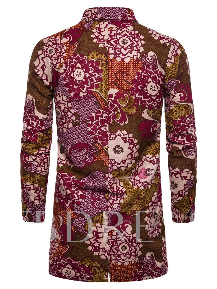 African Ethnic Style Print Long Sleeves Color Block Lapel Fall Men's Shirt